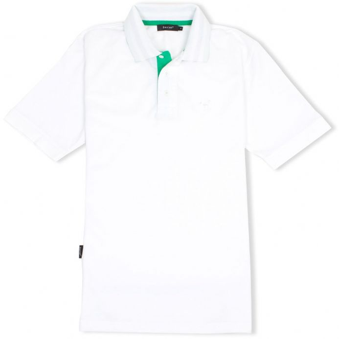 Senlak Striped Under Collar Polo Shirt in white with Anglo-Saxon White Dragon logo